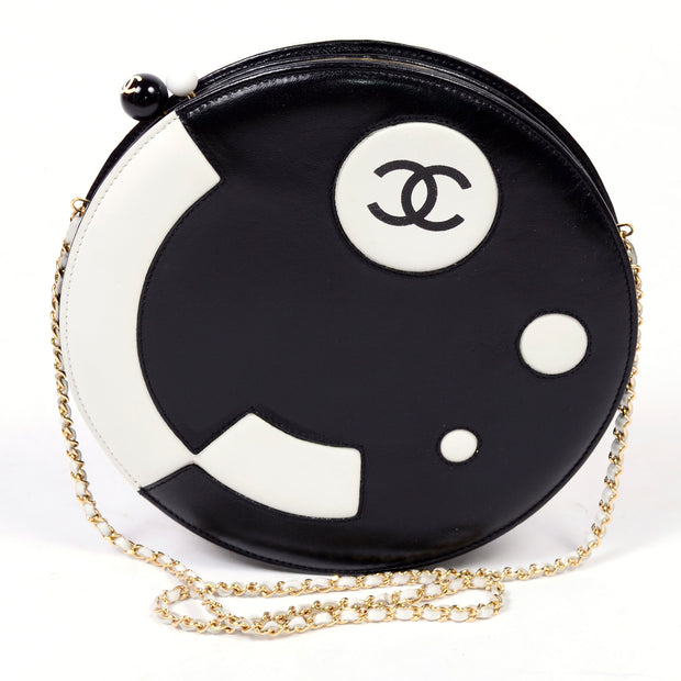 2003 Chanel black and white circular handbag