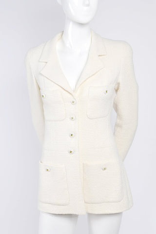Chanel Blazer in White Wool w CC Buttons
