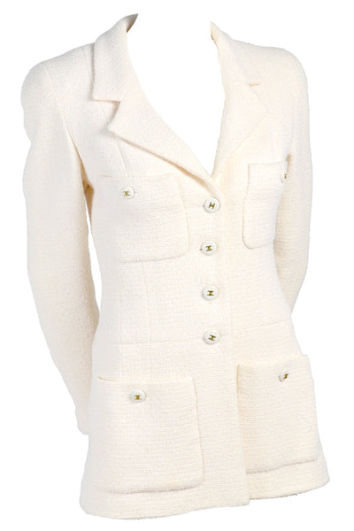 Vintage Chanel Blazer White Wool w CC Buttons