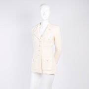 Vintage Chanel Blazer in White Wool w CC Buttons