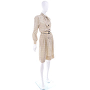 1970s Chanel Vintage Cream Black Tulip Print Silk Day Dress