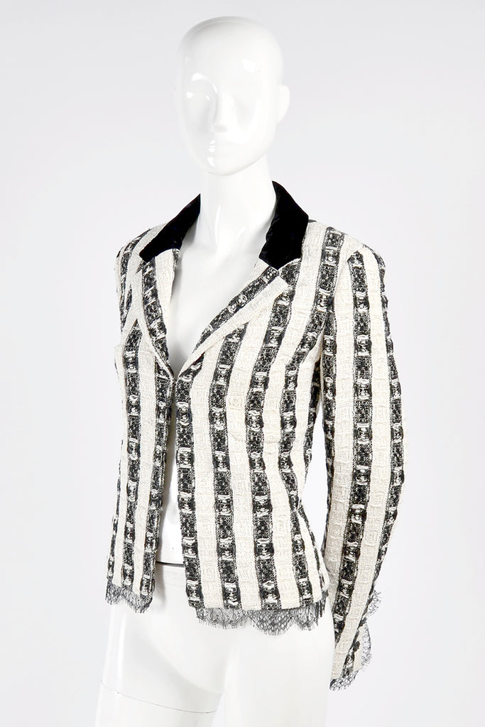 Chanel Black and White Jacket with Velvet collar