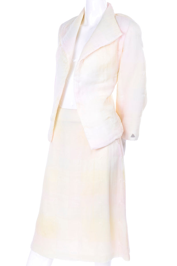 Chanel Skirt Suit in Ombre Ivory, Pink & Yellow Pastel Silk
