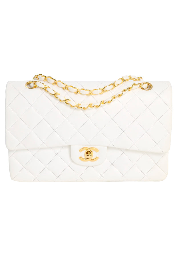 Chanel Caviar White Double Flap Handbag