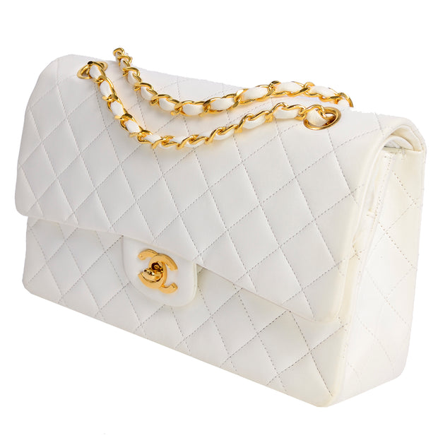Double Flap Chanel Caviar Quilted Leather Bag w Gold Hardware