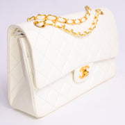 1980s New Chanel Caviar Meium Quilted Double Flap Handbag w/ Gold Chain Strap