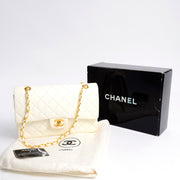 New Never Worn Vintage Chanel Double Flap White Leather Handbag