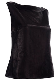Chanel Metallic Linen Boat Neck Sleeveless Black Top