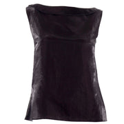 Chanel Metallic Linen Boat Neck Sleeveless Black Top nice