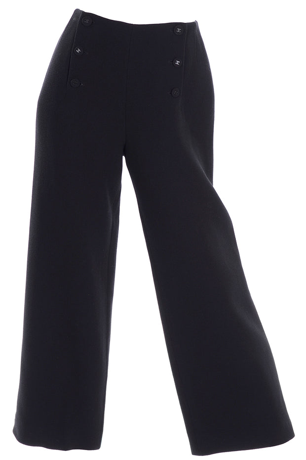 Chanel Sailor Pants Black Wool Silk Lining
