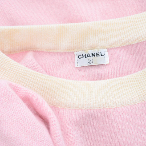 Vintage pink Chanel label from skirt and top