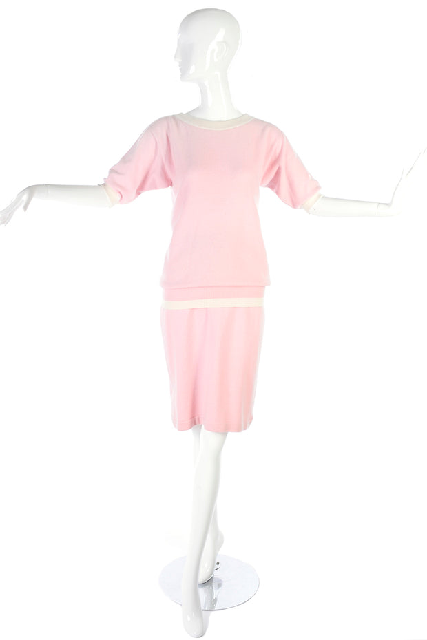 e433417cce02d6 1980's Chanel Pale Pink Cashmere Skirt & Short Sleeve Sweater Top 6 ...