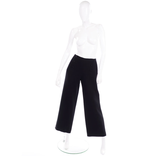 High Waisted Chanel Sailor Pants Black Wool Silk Lining