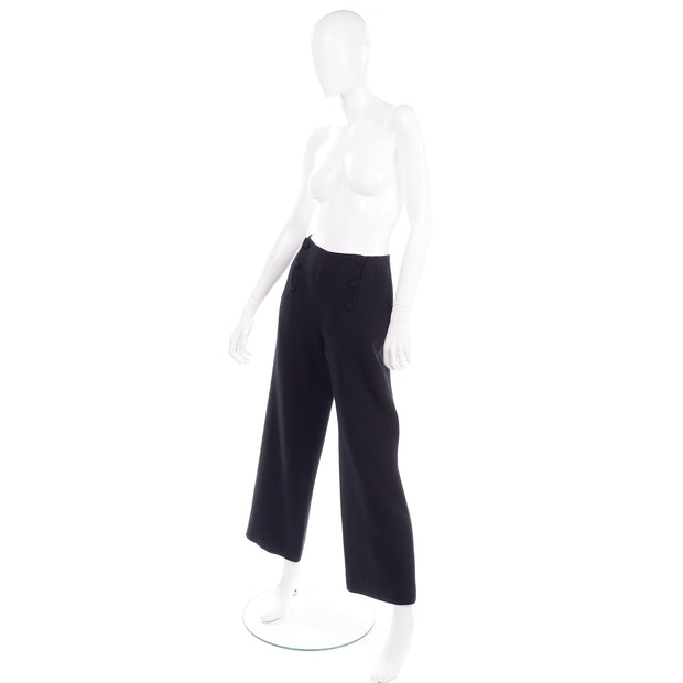 Chanel Sailor Pants Black Wool Silk Lining Wide leg