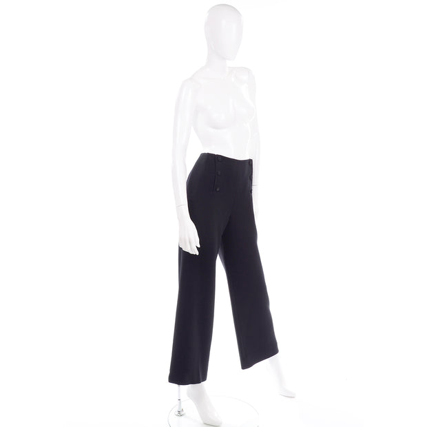 Chanel Sailor Pants Black Wool Trousers w Silk Lining