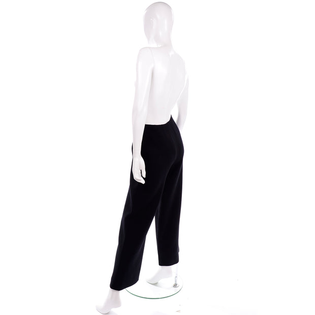 Chanel Sailor Pants Black Wool Silk Lining Wide Leg Trousers