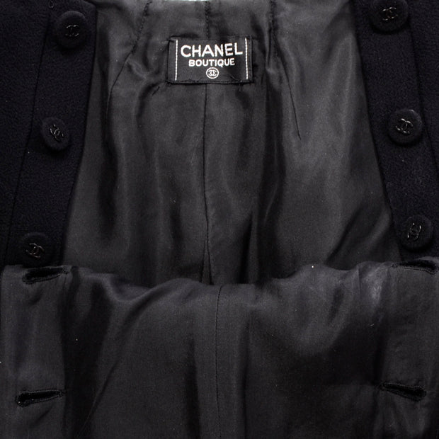 Chanel Sailor Pants Black Wool Silk Lining 6 Wide leg
