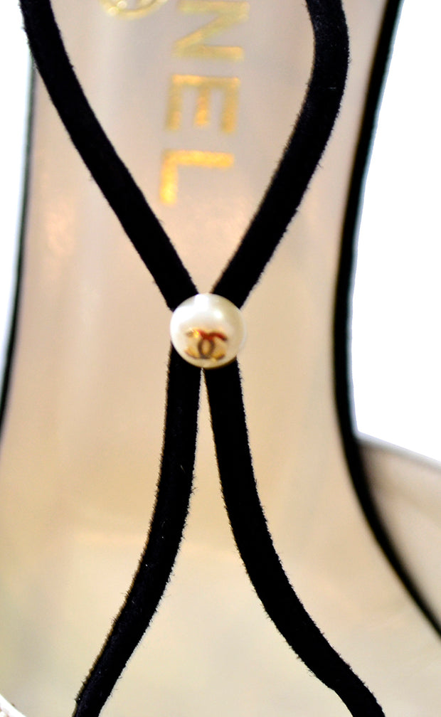 Chanel Cross Strap Vintage Heels Ivory & Black Shoes Monogram