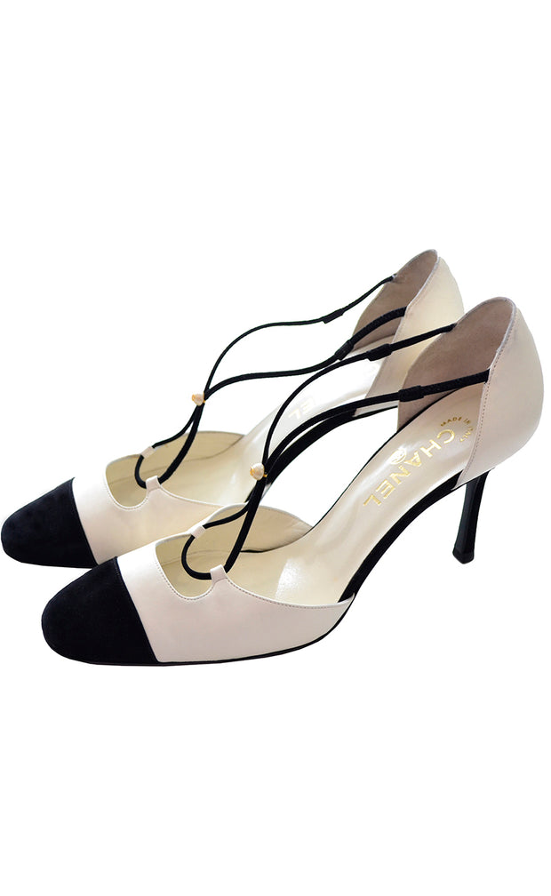 Chanel Cross Strap Vintage Heels Ivory & Black Shoes
