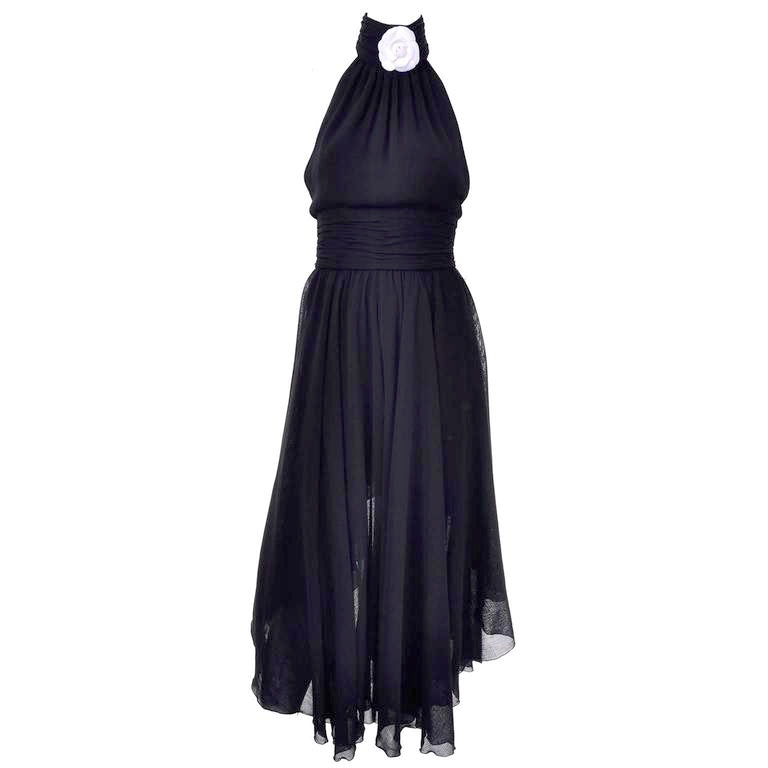 Asymmetrical pannel Chanel Black Dress