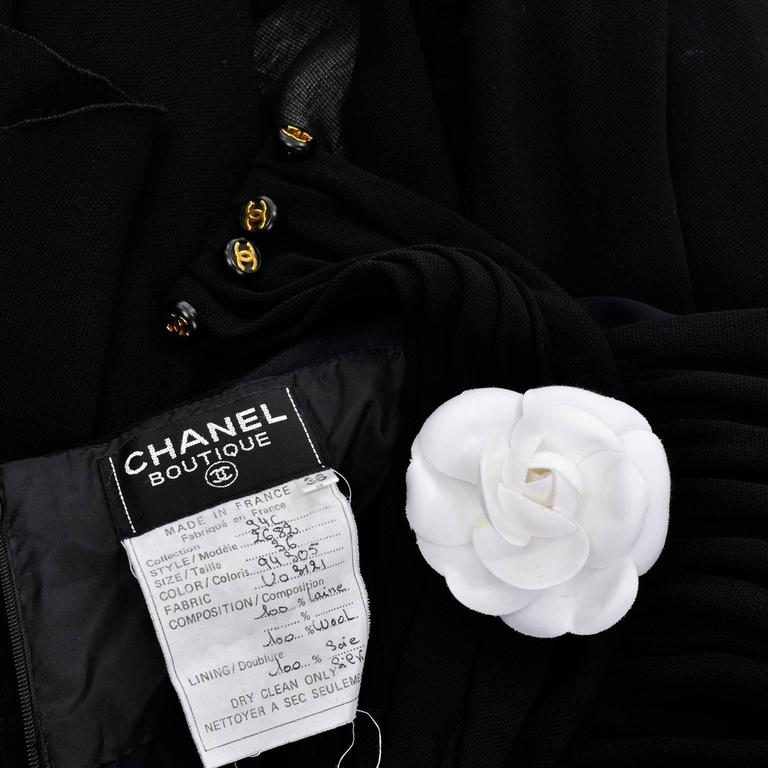 1994 Chanel Vintage Halter Dress Asymmetrical Hemline Camellia Bolero Jacket 36 - Dressing Vintage