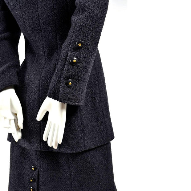 Charcoal gray vintage Chanel wool skirt suit