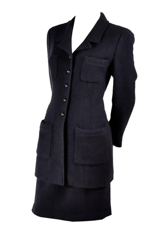 1980s Givenchy Navy Blue Cropped Jacket and High Waist Pantsuit Size 2