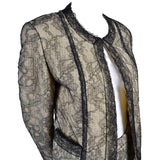 Vintage Chanel Skirt Suit with Black Lace Overlay