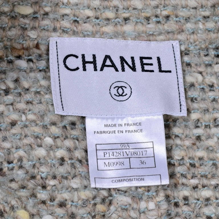 A/W 1999 Long Chanel Coat in Cream Brown & Blue Lesage Tweed - Dressing Vintage