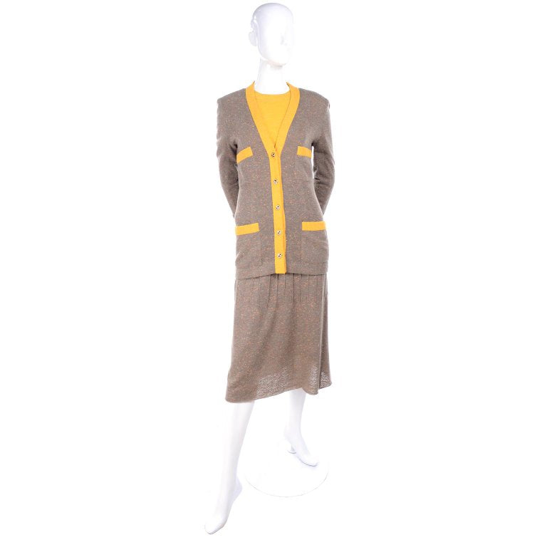 Marigold and brown vintage Chanel skirt suit