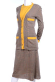 Brown wool Chanel skirt ensemble suit with cardigan, skirt and top