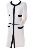 F/W 2000 Chanel White Tweed Coat w/ Black Trim and Belt Size 8/10 - Dressing Vintage