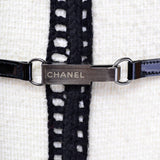 F/W 2000 Chanel White Tweed Coat w/ Black Trim and Belt Size 8/10