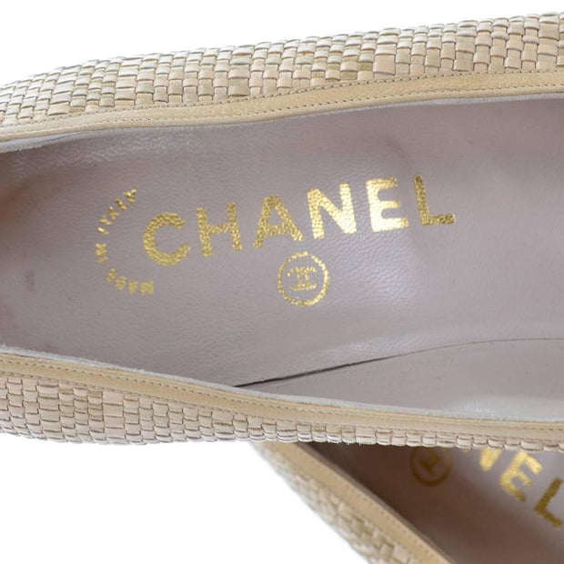 Gold Chanel Label Inside of Vintage Leather Shoes