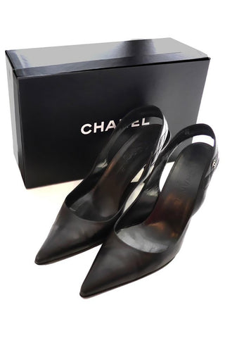 Chanel black slingback heels with original box
