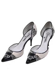 Black and white open heel Chanel Shoes