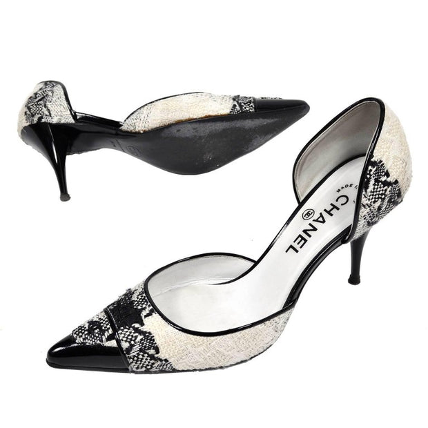 Chanel heels with black patent leather details 7.5