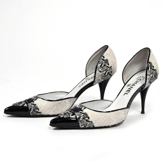 Chanel black and off white open heel vintage shoes