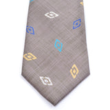 Taupe gray silk vintage Charles Jourdan tie with diamond design