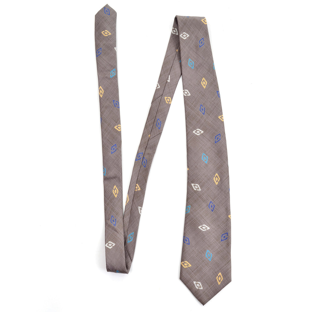 Vintage gray silk diamond pattern tie by Charles Jourdan