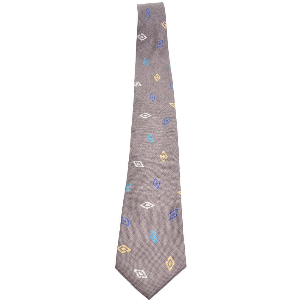 Charles Jourdan vintage gray taupe silk men's necktie with yellow and blue diamond pattern