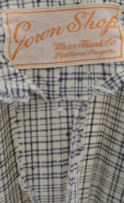 Charles Cooper Vintage 1950s Dress Black and White Plaid Cotton - Dressing Vintage