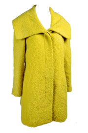 Chartreuse green wool swing coat