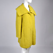 Chartreuse wool vintage coat from 1960's