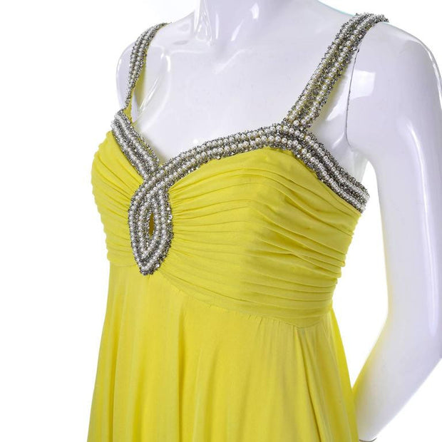 Keyhole 1960s chartreuse beaded vintage evening gown