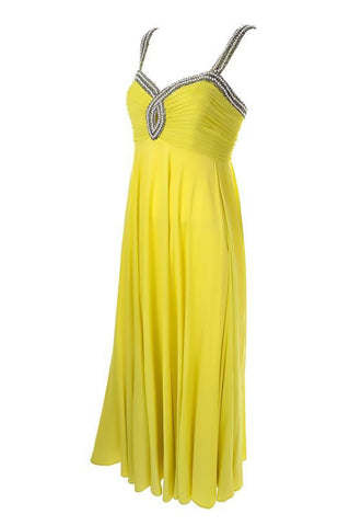 1960s chartreuse beaded keyhole vintage gown Seaton