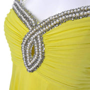 1960s chartreuse beaded keyhole vintage gown bulge beads and pearls