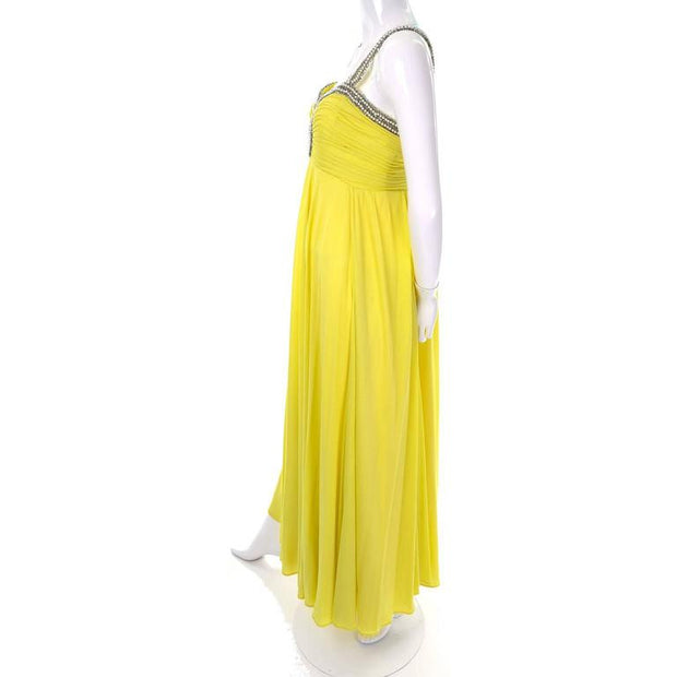 1960s chartreuse beaded keyhole vintage long silk dress