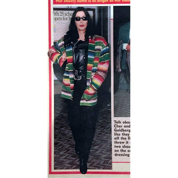 Magazine photo of Cher in colorful southwestern jacket