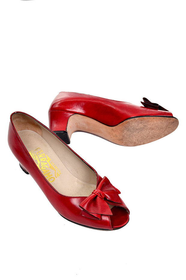 Vintage Red Peep Toe Ferragamo Heels 1980's with Bows